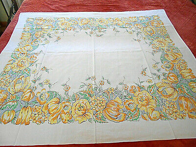 """Vtg White W/Yellow Florals & Fruit Tablecloth 53 X 58"""""""