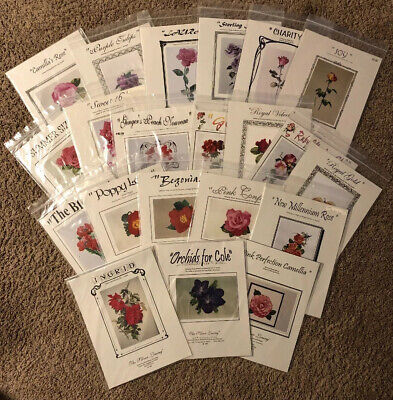Lot Of 21 The Silver Lining Flower Cross Stitch Patterns