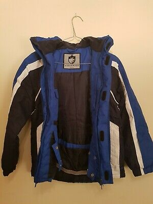 Blue Ski Snow Coat Jacket with inner pockets Kids - Size S Small double zipper