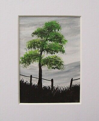 Original Green Tree Signed Landscape Miniature Aceo Painting