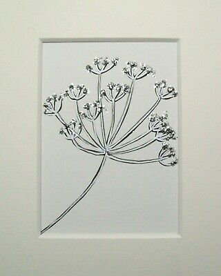 Original Silver And Glitter Flower Signed Landscape Miniature Aceo Painting