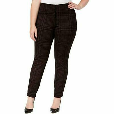 Alfani Womens Purple Black Houndstooth Pants Skinny Leg Comfort Waist Plus 14W