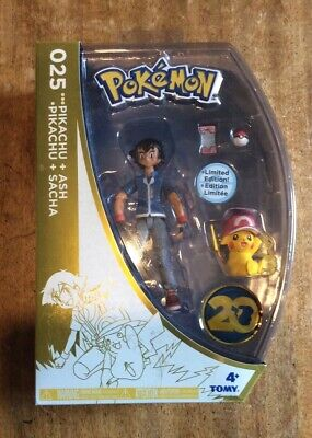 Tomy Pokemon Ash and Pikachu 20th Anniversary Limited Edition Figure 2016 New