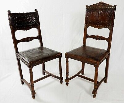 2 Pcs Dining Chairs Antique French Henry Ii Renaissance Leather Walnut Wood