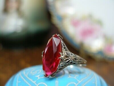 Antique Art Deco White Gold Filigree Marquise Ruby Red Ring 10K Size 6 1920'S