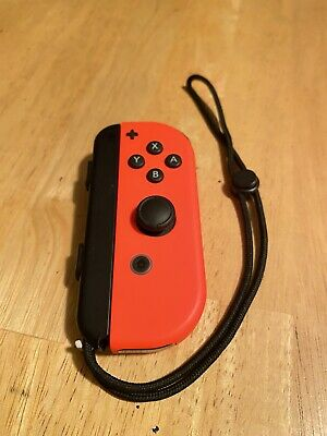 Nintendo Switch Neon RED RIGHT Joy Con + Wrist Strap! Authentic OEM Controller
