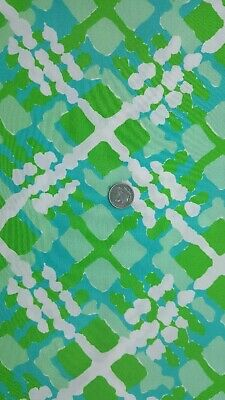 5 Yds Vintage 1960s Green and White Cotton Fabric