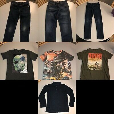 Boys 9-10 Years Bundle Jeans T-shirt Sequin Top Next M&S Skull Polo Shirt 7 Item