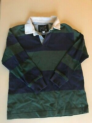 Lands End Boys blue and green striped rugby shirt, size L, 7 years