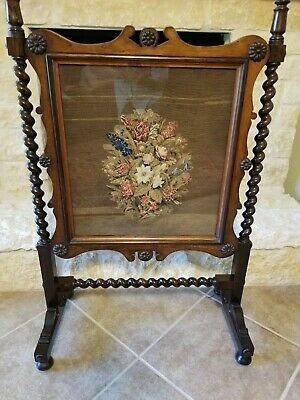 English Antique Victorian Barley Twist Mahogany Fire Screen