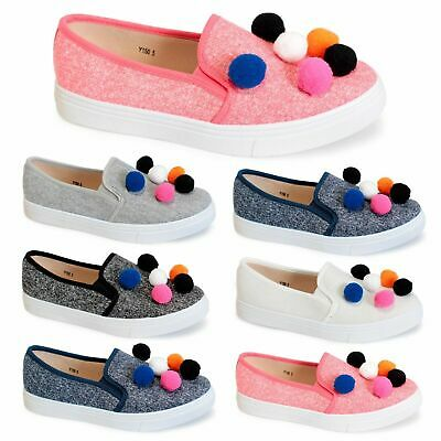 Ladies Women Pom Pom Canvas Style sneakers Pumps Slip Girls Trainers Flat Shoes