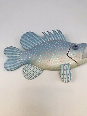 Folk art handmade Wooden Fish. Hand Painted. Can Be Hung.