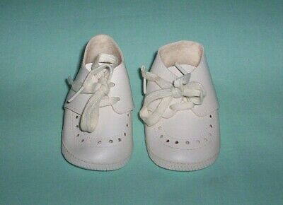 Made In Japan Vintage Infant Size 0 Baby Shoes White Pleather with Ties