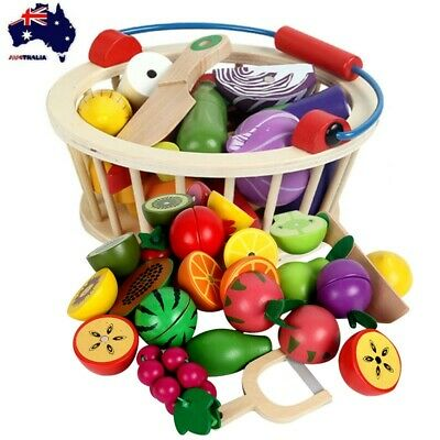 Wooden Kid Pretend Role Play Fruit Vegetable Food Toy Cutting Sets Toy Basket AU