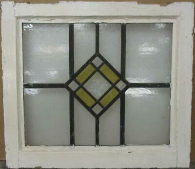 "OLD ENGLISH LEADED STAINED GLASS WINDOW Gorgeous Diamond Design 20.5"" x 18"""