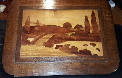 Pair of Art Deco marquetry wall plaques