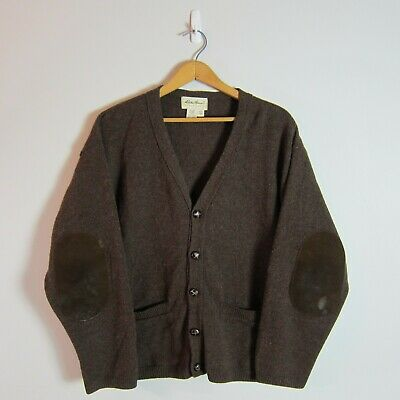 VTG Mens Eddie Bauer L Wool USA Made Brown Shawl Neck Elbow Pad Cardigan Sweater