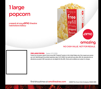AMC Theatre - 1 Large Popcorn and 1 Large Fountain Drink - eDelivery
