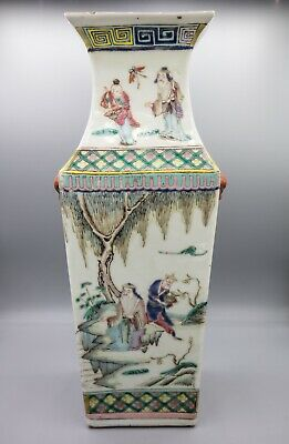"Antique Porcelain Chinese Vase, Qing or Republic, Famille Rose, Figural 13"" tall"