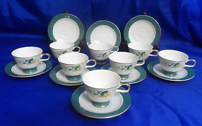 8 Homer Laughlin FOOTED CUP & SAUCER SETS Cavalier Eggshell, Green Rim