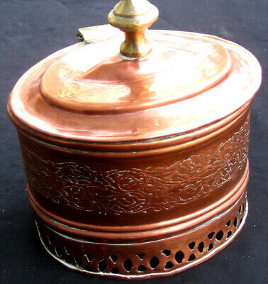 Antique Primitive Hand-Made Copper Pot/Box w/Hinged Cover