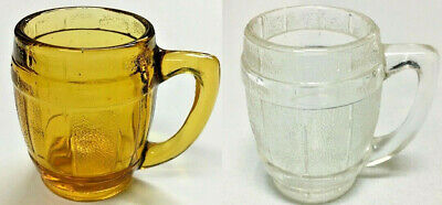 2 - Amber and Clear Whiskey Barrel Shot Glass or Toothpick Holder