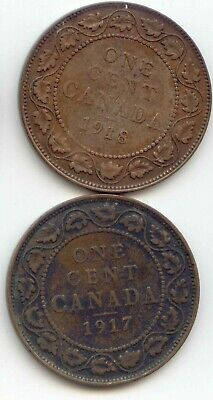 Canada 1917 & 1918 1 Cent Coin Canadian Large Penny 1c EXACT COIN SHOWN