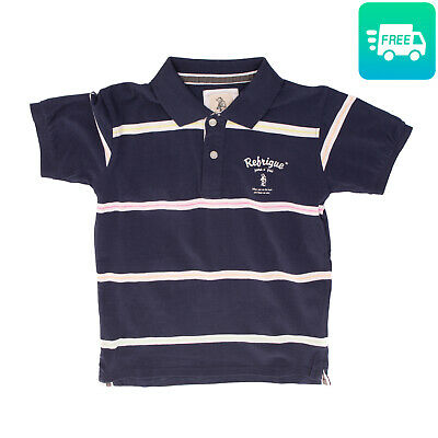 REFRIGUE Polo Shirt Size 10Y Striped Coated Logo Short Sleeve Regular Collar