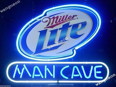 Miller Lite Man Cave Hand Blown Neon Sign Beer Bar Light Real Glass FAST SHIPING