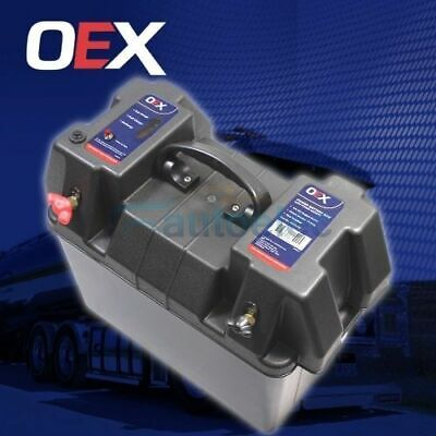 Oex Battery Box 12V Camping Portable Deep Cycle Agm Universal Large Cigarette