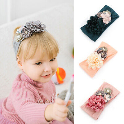 Nylon Handmade Newborn Baby Girls Flower Headband Infant Toddler Pearl Hair Band