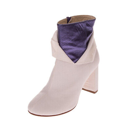 RRP €790 MM6 MAISON MARGIELA Ankle Boots EU39 UK6 US9 Leather Trim Made in Italy