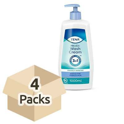 4x TENA ProSkin Wash Cream (Pump) - 1 Litre -  3 in 1 - cleansing - No rinse