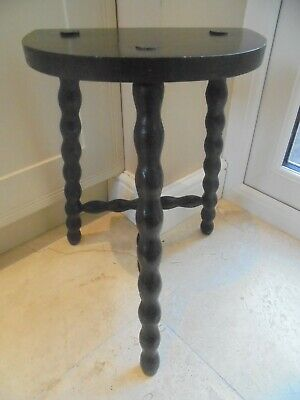 Vintage French 3 legged kitchen stool, half moon seat, semi circle, 45cm