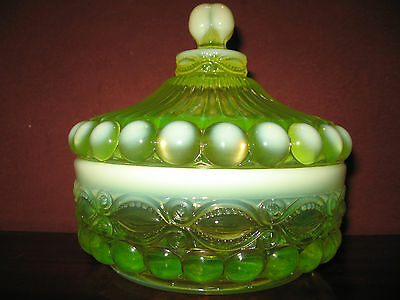 Vaseline Opalescent glass eyewinker pattern Covered Candy dish / butter uranium