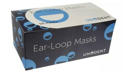 Box Of 50 UnoDent Ear-Loop 3 Ply Disposable Surgical Face Mask Flu Virus UK