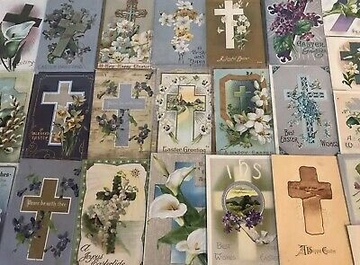 """LOT of 25 BEAUTIFUL Antique~"""" EASTER CROSSES"""" with Flowers CROSS POSTCARDS--p593"""