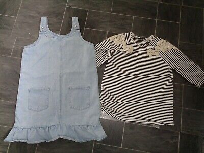 girls 2 piece george outfit- denim dress+ top age 11-12 years