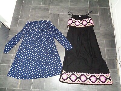 girls lovely dresses x 2- age 10-11 years-river island maxi +long sleeved navy