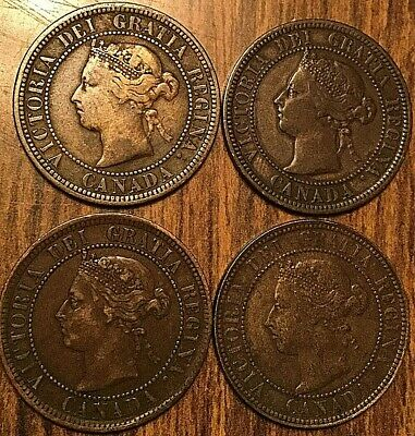 1876H 1882H 1888 1896 Lot Of 4 Canada Large Cent Penny Vickies Lot Of 4 Coins