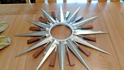 ORIGINAL, VINTAGE, 1960's, METAMEC,  STARBURST/SUNBURST HANGING WALL CLOCK