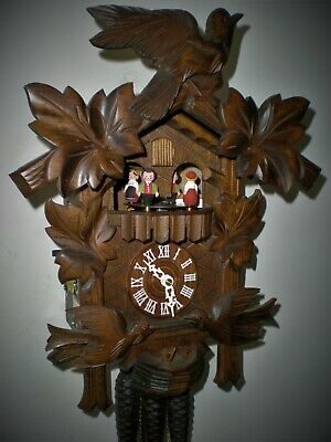Musical Cuckoo Clock with Animated Moving Birds & Dancers, Night Shut Off Lever