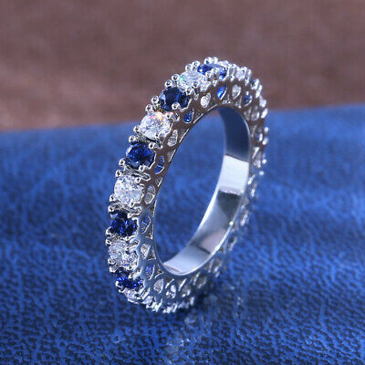 Elegant Women 925 Silver Ring Jewelry Blue Sapphire Wedding Ring Size 9