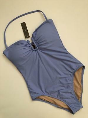 NEW J Crew U Front Bandeau Swimsuit in NAVY Sz 2 Extra Small G4790 $110