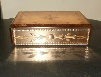 Art Deco Peach Mirrored Cut & Bevelled Jewellry Box
