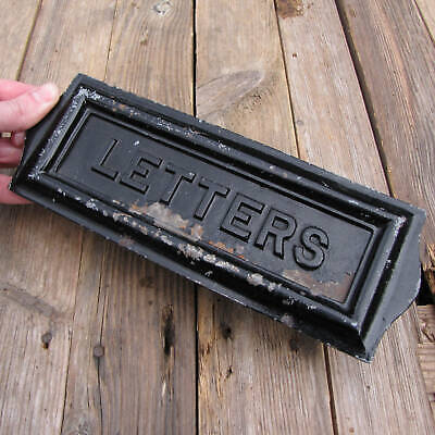 Old Cast Iron / Steel Letter Box Plate / Door Mailbox Mail Slot WORKING SPRING