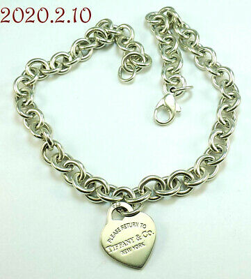 Estate Tiffany & Co Return To Tiffany RTT Sterling Silver 925 Heart Tag Necklace