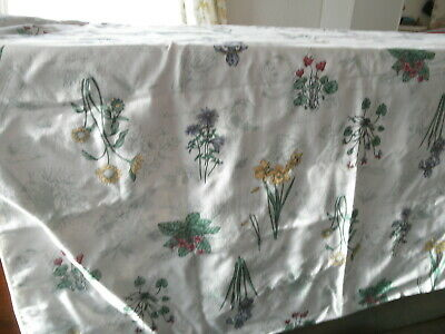 Grandma Attic Find Vintage Large TABLECLOTH Garden Patio Drangonfly Iris Floral