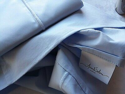 Anne De Solene ~ Paris  2) Standard Pillowcases ~  Blue Cotton Percale