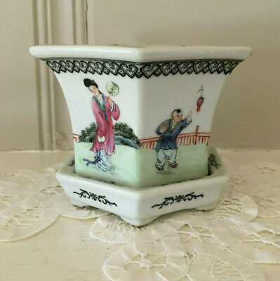 Antique Chinese Hexagon Planter Painted Figurines Playing Games W/Red Markings